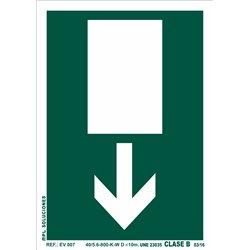 Señal: Salida de emergencia abajo.